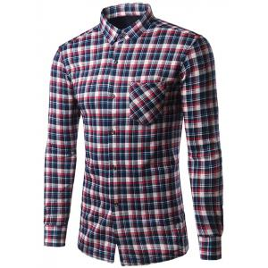 Turndown Collar Thicken Color Block Checked Shirt