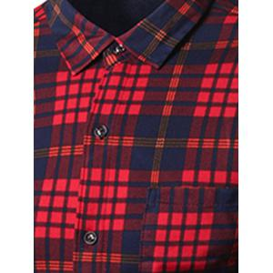 Turndown Collar Thicken Color Block Checked Pattern Shirt -