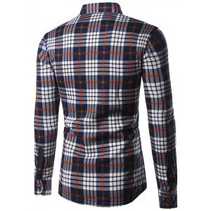 Turndown Collar Thicken Color Block Checked Print Shirt -