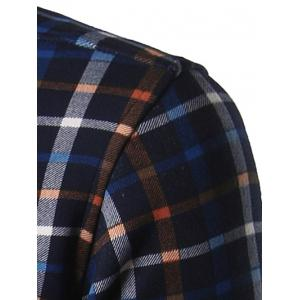 Turndown Collar Thicken Color Block Plaid Print Shirt - DEEP BLUE XL
