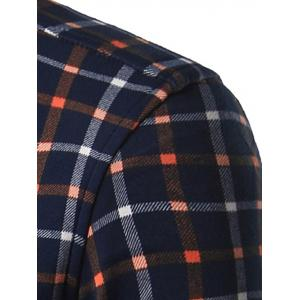 Turndown Collar Thicken Color Block Plaid Shirt - CHECKED 3XL