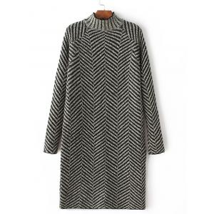 Long Sleeve Zig Zag Sweater Dress