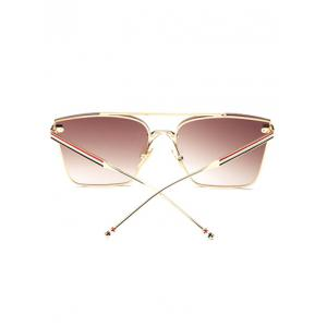 Travel Striped Metal Leg Square Sunglasses -