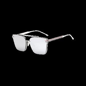 Travel Striped Metal Leg Square Mirrored Sunglasses
