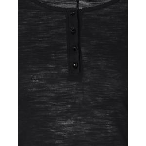 Half Button Lace Insert T-Shirt - BLACK M