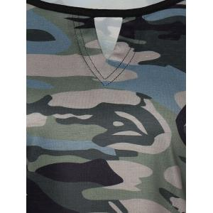 Army Camouflage Pattern Panel Long Sleeve T-Shirt - CAMOUFLAGE COLOR L
