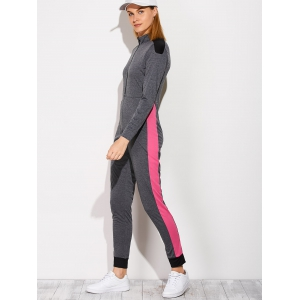 Casual Color Block Sporty Jumpsuit - DEEP GRAY XL