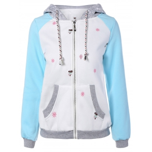 Casual Christmas Snowflake Pattern Embroidery Zipper Hoodie
