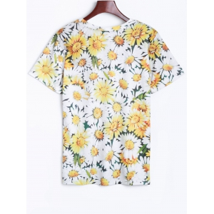 3D Chrysanthemum Printed T-Shirt -
