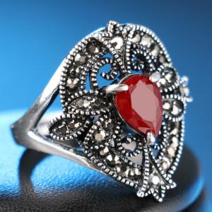 Vintage Artificial Gem Engraved Ring - RED ONE-SIZE