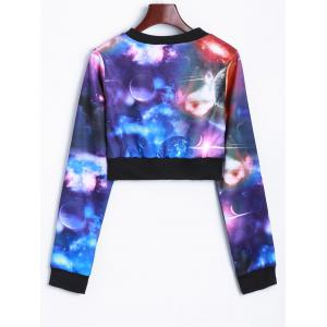 Zippered Up Galaxy Cropped Sweatshirt -