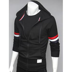 Zip Up Pocket Front Striped Sleeve Hoodie