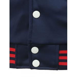 Letter Print Color Block Baseball Jacket - BLUE AND RED S