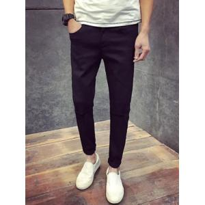 Skinny Zipper Fly Jeans with Knee Rips - Black - 32