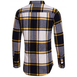 Chest Pocket Button Up Plaid Shirt - YELLOW XL