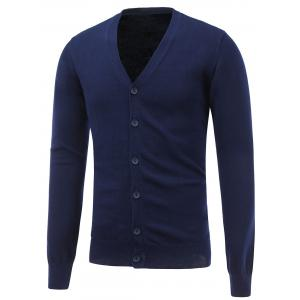 V Neck Button Up Flat Knitted Cardigan