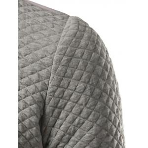Rhombus Pattern Insert Zip Up Jacket - GRAY 2XL
