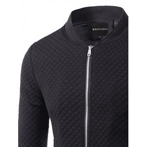 Rhombus Pattern Insert Zip Up Jacket - BLACK 3XL