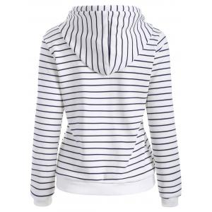 Striped Button Embellished Flocking Hoodie - WHITE S