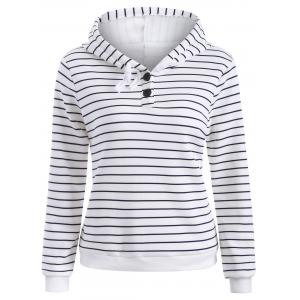 Striped Button Embellished Flocking Hoodie - White - S