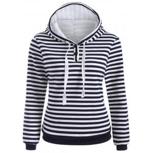 Striped Button Embellished Flocking Hoodie