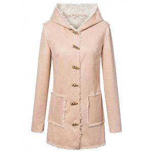 Hooded Sherpa Faux Suede Coat - Yellowish Pink - S