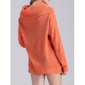 Ribbed Cowl Neck Tunic Knit Sweater - JACINTH ONE SIZE