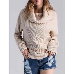 Cowl Neck Ribbed Knit Sweater