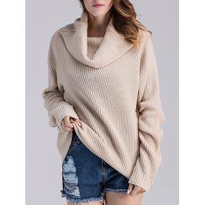 Cowl Neck Ribbed Knit Sweater - BEIGE GREY ONE SIZE