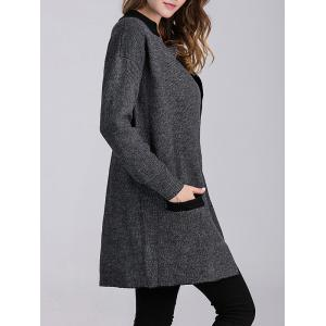 Color Block Knitted Cardigan with Pockets - DEEP GRAY L