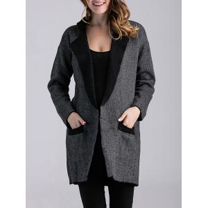 Color Block Knitted Cardigan with Pockets - Deep Gray - S