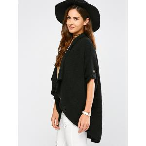 Knitted Draped Front Cardigan - BLACK ONE SIZE