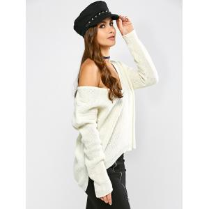 High Low Hem Chunky Sweater - OFF WHITE M