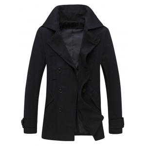 Pocket Button Tab Cuff Epaulet Design Pea Coat