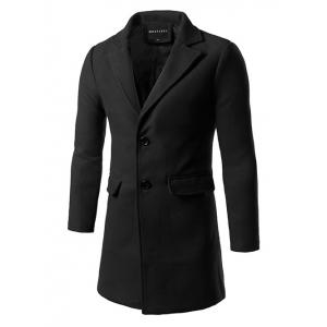 Back Vent Flap Pocket Single Breasted Woolen Coat