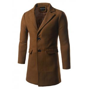 Back Vent Flap Pocket Single Breasted Woolen Coat - Khaki - M