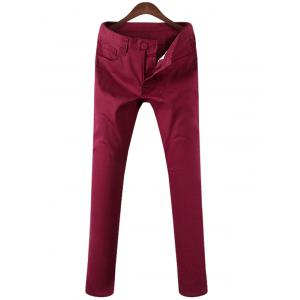 Mid Rise Zipper Fly Pocket Casual Pants