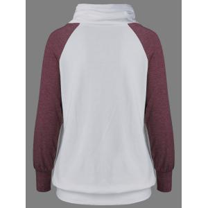 Raglan Sleeve Drawstring Sweatshirt - RED AND WHITE XL