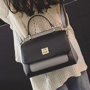 Twist Lock Closure Color Block Vintage Crossbody Bag -