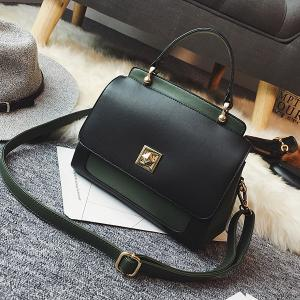 Twist Lock Closure Color Block Vintage Crossbody Bag - GREEN