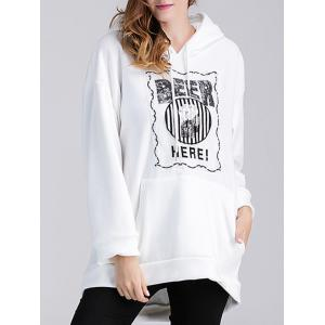 Beer Applique Thicken Maternity Hoodie - WHITE XL