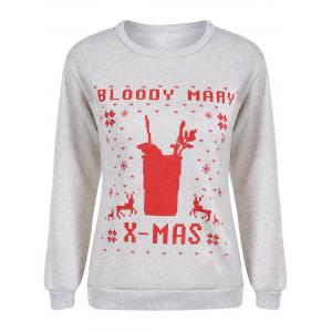 Pullover Christmas Print Sweatshirt - Light Gray - S
