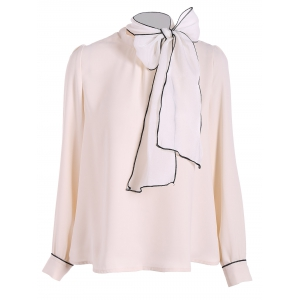 Pussy Bow Tied Neck Chiffon Blouse - APRICOT XL