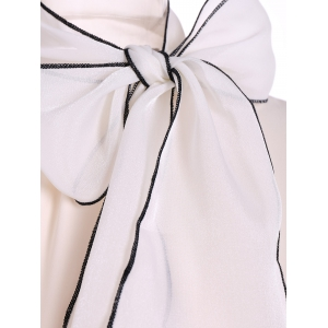 Pussy Bow Tied Neck Chiffon Blouse -