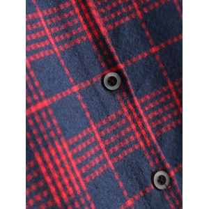 Plaid Panel Smock Dress - DEEP RED 2XL