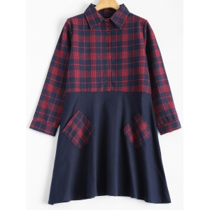Plaid Paneled Smock Dress