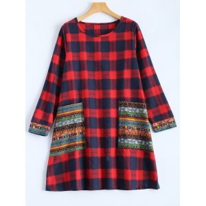 Tribal Print Plaid Panel Dress