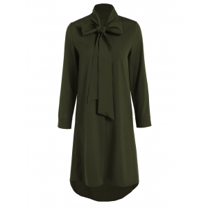 Pussy Bow Tied Neck Shirt Dress - Olive Green - L