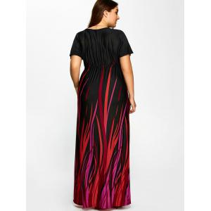 Plus Size Printed Empire Waist Maxi Formal A Line Party Dress - BLACK 2XL