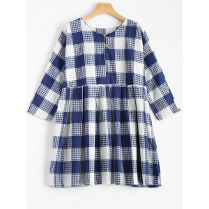 Plaid Mini Smock Dress